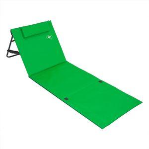 Deuba Strandmatte Gepolstert Kopfkissen Faltbar Verstellbare Rückenlehne Staufach Badematte Isomatte Strandtuch, Farbe:grün