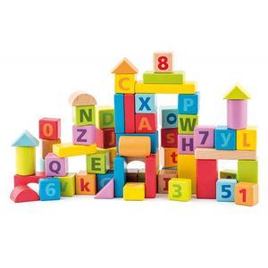 BUCHSTABEN HOLZ BAUSTEINE KLEINKINDER 60 Holzbauklötzer Kinder Spielzeug