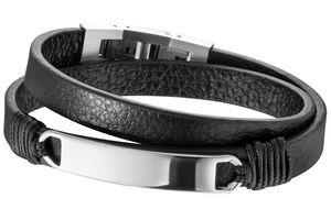 Save Brave Armband SBB-MASON-BK Leder schwarz mit Gravur Platte