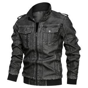 Herren Jeansjacke Big Size Solid Causal Washed Lederjacke mit Stehkragen Größe:XXXL,Farbe:Dunkelgrau