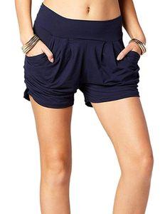 Womens Beiläufig Harem Shorts Bottoms Weiche kurze Hose mit mittlerer Taille Taschen,Farbe:Marineblau,Größe:M