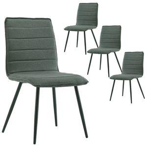 Duhome 4er Set Esszimmerstuhl Polsterstuhl aus Stoff Grün-Grau Metallbeine