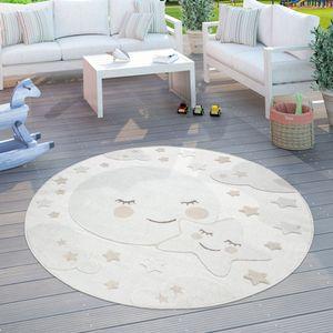 Kinderteppich Kinderzimmer Outdoorteppich Rund Spielteppich 3D Effekt Mond Beige, Grösse:Ø 160 cm Rund