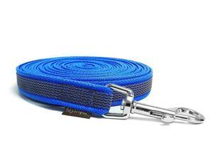 Mystique® Gummierte Schleppleine 20mm mit Handschlaufe Standard Karabiner blau 20m