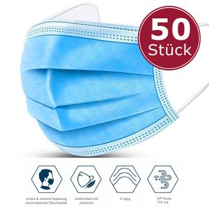 50x Masken Medizinischer Mundschutz Typ IIR OP Maske Chirurgische Atemschutzmaske