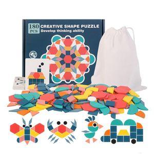 Kinder Geometrische Formen HolzPuzzles - Montessori Spielzeug Puzzle mit 180 geometrischen Formen und 24 Designkarten Geeignet für 3 4 5 6 7 jährige Kinder Pädagogisches Spielzeug mit