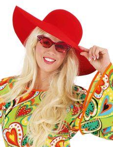 Schlapphut zum Hippie Kostüm Karneval Fasching Sommerparty rot