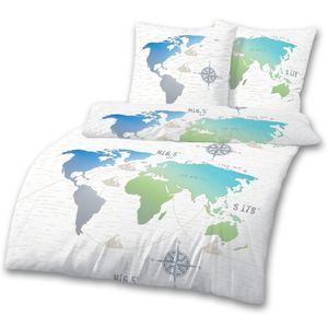Weltkarte Bettwäsche 80x80 + 135x200 cm · Bettwäsche für Kinder / Teenager · Weltenbummler, Fernweh, Landkarte - 100 % Baumwolle