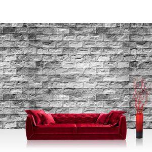 Vlies Fototapete no. 1604 - 368X254 cm - 1604 Steinwand Tapete Stein Steinoptik Steine Wand Wall Steintapete grau liwwing (R)