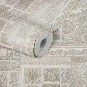 Fliesen-Tapete Tapete Fliesenoptik Grau Silber Vliestapete Grau Silber 370485 37048-5 | Jetzt Tapeten online bestellen
