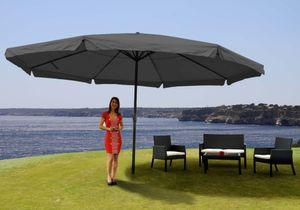 Sonnenschirm Carpi Pro, Gastronomie Marktschirm mit Volant Ø 5m Polyester/Alu 28kg  anthrazit ohne Ständer