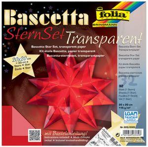 folia Faltblätter Bascetta-Stern 200 x 200 mm 115 g/qm 32 Blatt rot-transparent