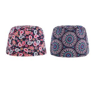 2 Stück Baumwolle Chef Hüte einstellbar Kochhaube Uni Arbeitskappe Kochmütze Arbeitsmütze Kopftuch Uniform Farbe Rosa + lila Blume