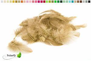 Bastelfedern 5-10cm, ca. 80-100 Stück, Farbauswahl:sand / beige / natur 835