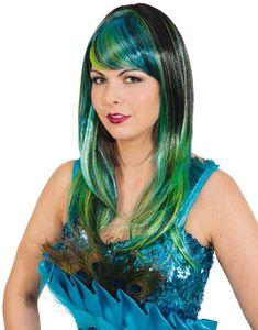 Pfauen Lady Damen Perücke zum Kostüm Karneval Fasching Party