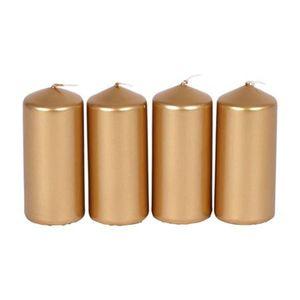 Metallic-Stumpenkerzen Gold 4er-Set 40x90mm Adventskerzen Weihnachten Kerzen