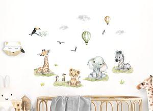 Little Deco Wandtattoo Wandsticker Kinderzimmer Mädchen Jungen Baby Safari Tiere Wandaufkleber Löwe Zebra Spielzimmer Wanddeko Babyzimmer Wandbild Kinder DL695-2
