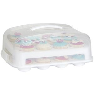 Patisse Cup-Cake-Transportbox 39cm, weiß/transparent