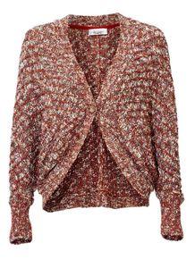 Linea Tesini Damen Designer-Grobstrickjacke, terracotta, Größe:42