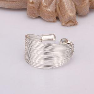 Silber Breiter Offener Verstellbarer Edelstahlring Für Damen