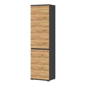 3476-562 Lissabon Schrank in Navarra Eiche Nb., Absetzung Anthrazit Garderobenschrank Hochschrank ca. 54 cm breit
