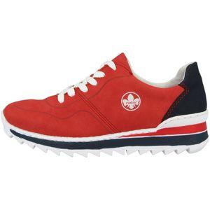 Rieker M6929 sportliche Damen Schnürschuhe Halbschuhe, Größe:39 EU, Farbe:Rot