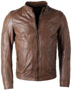 Maze Herren Lederjacke Jack Übergangsjacke schwarz Biker Look , Grösse:M, Farbe:Braun