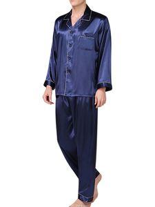 Herren Seidensatin Pyjama Set Nachtwäsche Tops + Langarm Pyjama Weiche Schlafanzüge,Farbe:Blau,Größe:XL