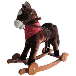 Schaukelpferd mit Sound und Rollen Holz Plüsch Schaukel Pferd bis 20kg NEU SP3 Dunkelbraun