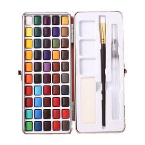 Aquarellfarbkasten 50er Set, hochwertiges Aquarell-Farben-Set bestehend aus 50 Wasserfarben, 1 Pinsel, 1 Wassertankpinsel, - Malkasten für Anfänger und Profis