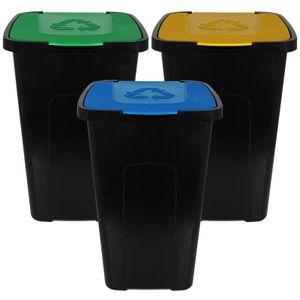 Mülleimer 50L mit Klappdeckel 3er Set Recycling Abfalltonne Mülleimer Abfalleimer