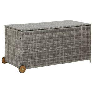 Möbel- Auflagenbox,Gartenbox Kissenbox,Gartentruhe Für Balkon & Terrasse Hellgrau 130x65x115 cm Poly Rattan💧4831