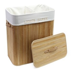 Bambus Wäschebox 105L natur faltbar Leinensack Wäschkorb Wäschesammler