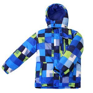Nickel Kinder Skianzug Skijacke + Skihose Blau Grün Kariert winddicht Größe 140 - Größe 140