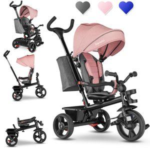 Lionelo Haari Dreirad Kinderdreirad Kinder Lenkstange Fahrrad Baby Kinderwagen Rosa
