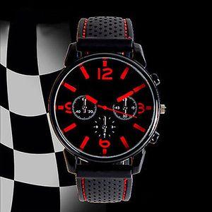 Herrenmode Zifferblatt Silikonband Sport Analog Quarz Armbanduhr rot
