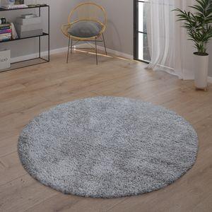 Hochflor-Teppich, Kuschelig Weich, Moderner Einfarbiger Flokati-Teppich In Grau, Grösse:120 cm Rund