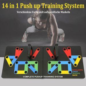 HOMEOW Multifunktions Push Up Rack Board 14-in-1 Liegestützgriffe mit Push-up-Board  Liegestützbrett Fitnesstraining für zu Hause, Sportgerät, Muskelaufbau, Bodybuilding, Farbmarkierungen, Klappbar Push Up Training Stystem Rutschfest Schwarz