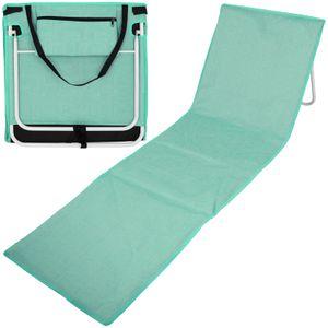Strandmatte mit Rückenlehne 157x52 Blaugrün Webmuster Strandliege Liegematte Strand Liege Sonnenliege