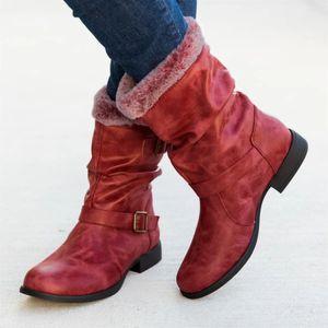 Damenmode Casual Winter Warm Middle Ankle Boots Schuhe mit niedrigen Absätzen Größe:40,Farbe:Rot