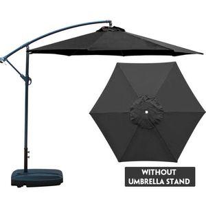Sonnenschirm, Ampelschirm Ø 200 cm, UV-Schutz bis UPF 50+, Sonnenschutz, Gartenschirm, ohne Ständer, Schwarz