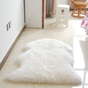 Künstliche Schaffell Teppich Flauschige Teppiche Dicke Bodenmatte Decke Weiß 62x102x6cm