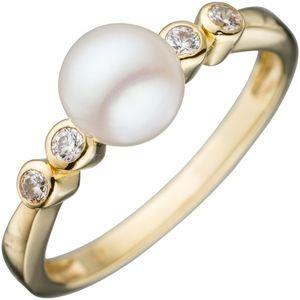 JOBO Damen Ring 333 Gold Gelbgold 1 Süßwasser-Perle 4 Zirkonia Goldring Perlenring Größe 50