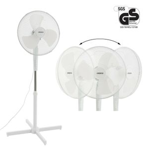 AREBOS Standventilator 45W Luftkühler Ventilator Lüfter Oszillierend Weiß