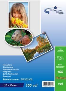 EtikettenWorld BV 100 Blatt 10x15cm Fotopapier 230g/m² hochglänzend, wasserfest, Super weiss von EtikettenWorld BV