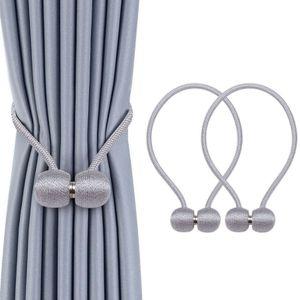 Miixia 2 Stücke Magnetische Vorhang Gardinen Halter Raffhalter Magnetverschluss Zugband Grau