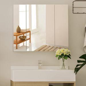 Spiegelschrank bad Badezimmerspiegel weiß Badzimmerschrank Hängeschrank 70 x 15 x 60 cm Badschrank mit 3 Türen Badspiegelschrank zur Wandmontage Badezimmer