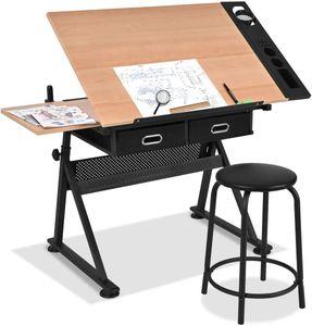 Goplus Zeichentisch Hoehenverstellbar, Schreibtisch Neigungsverstellbar, Architektentisch mit Hocker, Schuelerschreibtisch Buerotisch