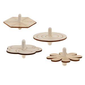 4 Stück Kreisel aus Holz Holzkreisel Lernspielzeug Bastelmaterial für Kinder Jungen Mädchen
