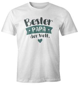 Herren T-Shirt Geschenk Papa Väter Aufdruck Spruch Bester Papa der Welt Danke sagen Moonworks® Bester Papa Petrol weiß L